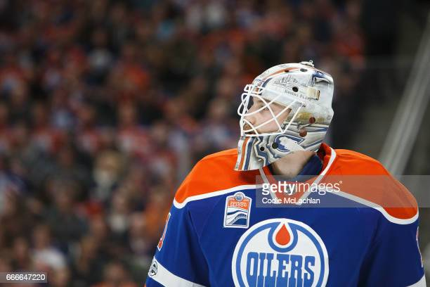 Goalie Laurent Brossoit of the Edmonton Oilers skates against the Vancouver Canucks in the first period on April 9 2017 at Rogers Place in Edmonton...