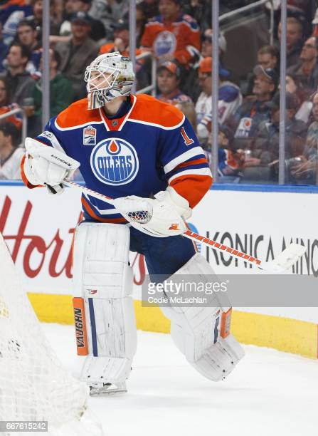 Goalie Laurent Brossoit of the Edmonton Oilers skates against the Vancouver Canucks on April 9 2017 at Rogers Place in Edmonton Alberta Canada
