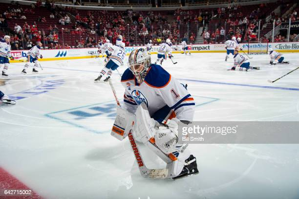 Goalie Laurent Brossoit of the Edmonton Oilers warms up prior to the game against the Chicago Blackhawks at the United Center on February 18 2017 in...