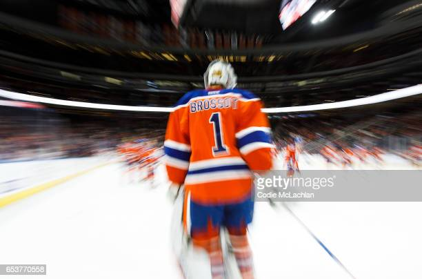 Goalie Laurent Brossoit of the Edmonton Oilers warms up prior to the game against the Montreal Canadiens on March 12 2017 at Rogers Place in Edmonton...