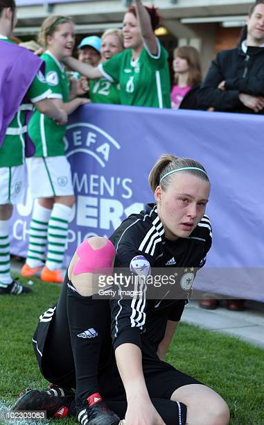 Goalie Lena Nuding of Germany looks dejected after losing the UEFA European Women's Under 17 Championship match between Ireland and Germany at the...
