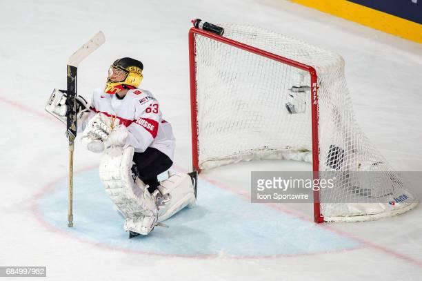 Goalie Leonardo Genoni looks on during the Ice Hockey World Championship Quarterfinal between Switzerland and Sweden at AccorHotels Arena in Paris...