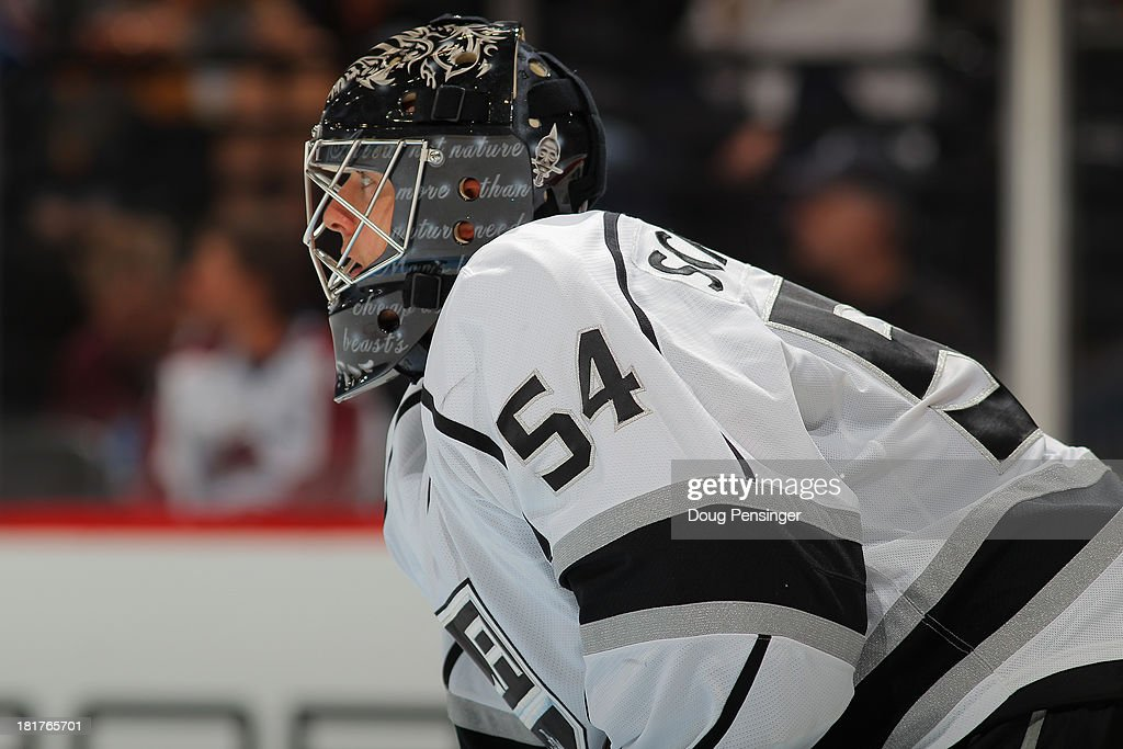 Goalie Los Angeles Kings goalie Ben Scrivens defends the goal against the Colorado Avalanche during their preseason game at the Pepsi Center on...