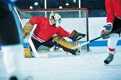 Goalie making save in ice hockey game