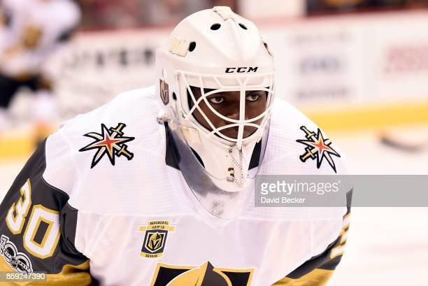 Goalie Malcolm Subban of the Vegas Golden Knights looks on before the team's match against the Arizona Coyotes at Gila River Arena on October 7 2017...