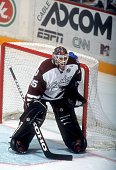 Goalie Marc Denis of the Hershey Bears defends the net during an AHL game in October 1998