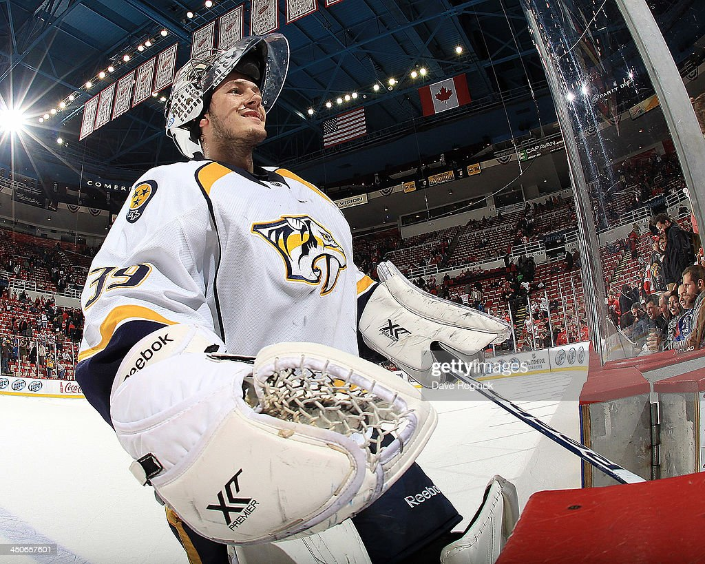 Goalie Marek Mazanec #39 of the Nashville Predators skates off the ice after getting the 2nd star of the game for his shut-out performance during a NHL game against the Detroit Red Wings at Joe Louis Arena on November 19, 2013 in Detroit, Michigan. Nashville defeated Detroit 2-0