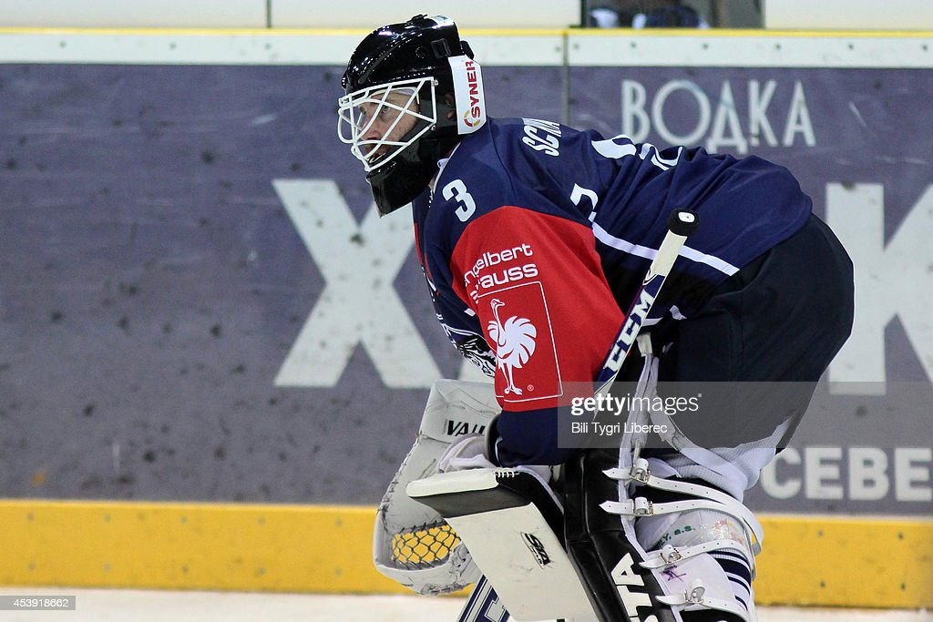 Goalie Marek Schwarz of Bili Tygri Liberec protects the ne during the Champions Hockey League group stage game between Bili Tygri Liberec and Karpat Oulu on August 21, 2014 in Liberec, Czech Republic.