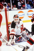 Goalie Martin Brodeur defends the net during Game 4 of the 1995 Stanley Cup Finals against the Detroit Red Wings on June 24 1995 at the Brendan Byrne...