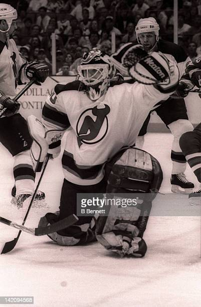 Goalie Martin Brodeur of the New Jersey Devils defends the net during Game 6 of the Eastern Conference Finals against the New York Rangers on May 25...