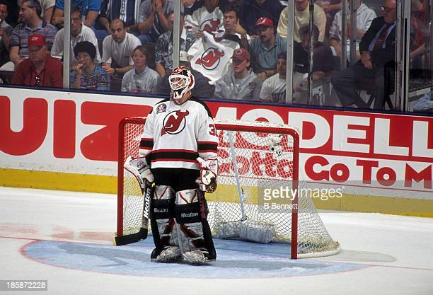 Goalie Martin Brodeur stands on the ice during Game 4 of the 1995 Stanley Cup Finals against the Detroit Red Wings on June 24 1995 at the Brendan...
