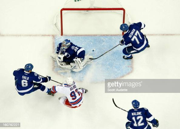 Goalie Mathieu Garon and Sami Salo of the Tampa Bay Lightning block Matt Gilroy of the New York Rangers during the first period of their game at the...