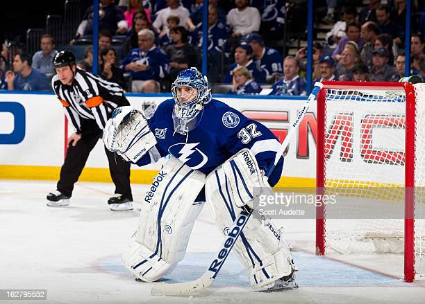 Goalie Mathieu Garon of the Tampa Bay Lightning guards the goal during the second period of the game against the Buffalo Sabres at the Tampa Bay...