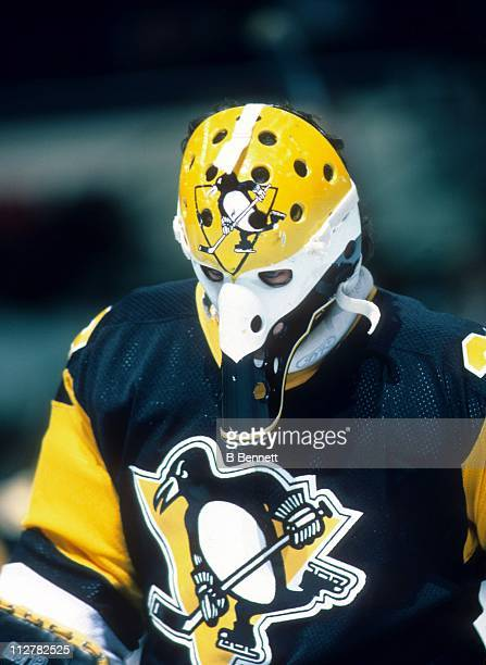 Goalie Michel Dion of the Pittsburgh Penguins skates on the ice during an NHL game against the New York Islanders on November 10 1984 at the Nassau...