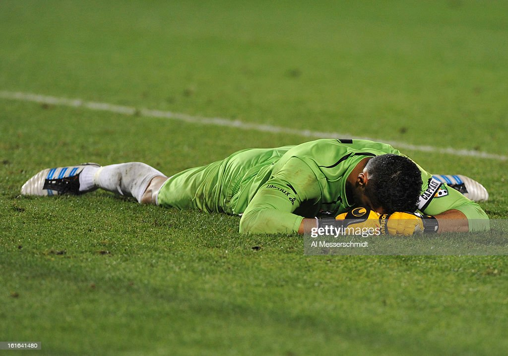 Goalie Miguel Gallardo #1 of Orlando City tumbles after allowing a goal against Toronto FC February 13, 2013 in the second round of the Disney Pro Soccer Classic in Orlando, Florida.