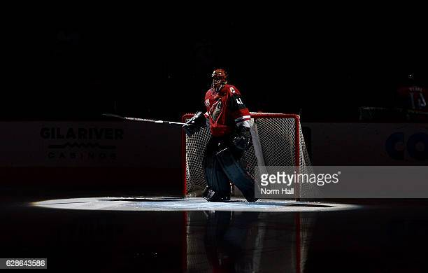 Goalie Mike Smith of the Arizona Coyotes is spotlighted during player introductions before a game against the Calgary Flames at Gila River Arena on...