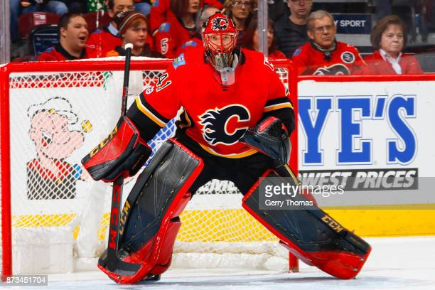 Goalie Mike Smith of the Calgary Flames guards the net in an NHL game against the Vancouver Canucks at the Scotiabank Saddledome on November 7 2017...