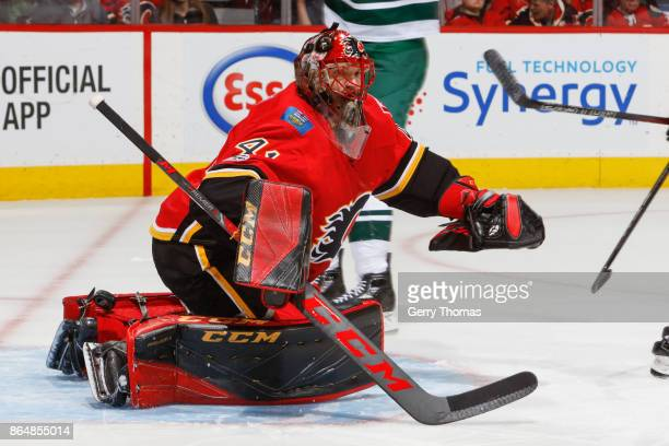 Goalie Mike Smith of the Calgary Flames in action in an NHL game against the Minnesota Wild at the Scotiabank Saddledome on October 21 2017 in...