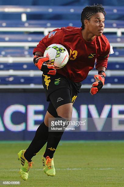 Goalie Nicole McClure of Jamaica plays against Martinique during the CONCACAF Women's Championship USA 2014 at Sporting Park on October 16 2014 in...