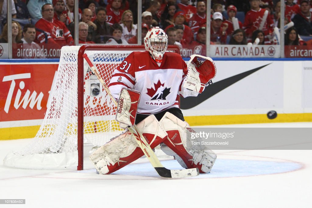 Goalie Olivier Roy #31 of Canada makes a save during the 2011 IIHF World U20 Championship game between Canada and Sweden on December 31, 2010 at HSBC Arena in Buffalo, New York.