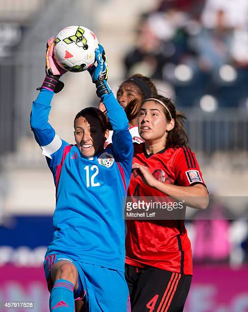 Goalie Pamela Tajonar of Mexico makes a save against Trinidad Tobago in the 2014 CONCACAF Women's Championship third place game on October 26 2014 at...