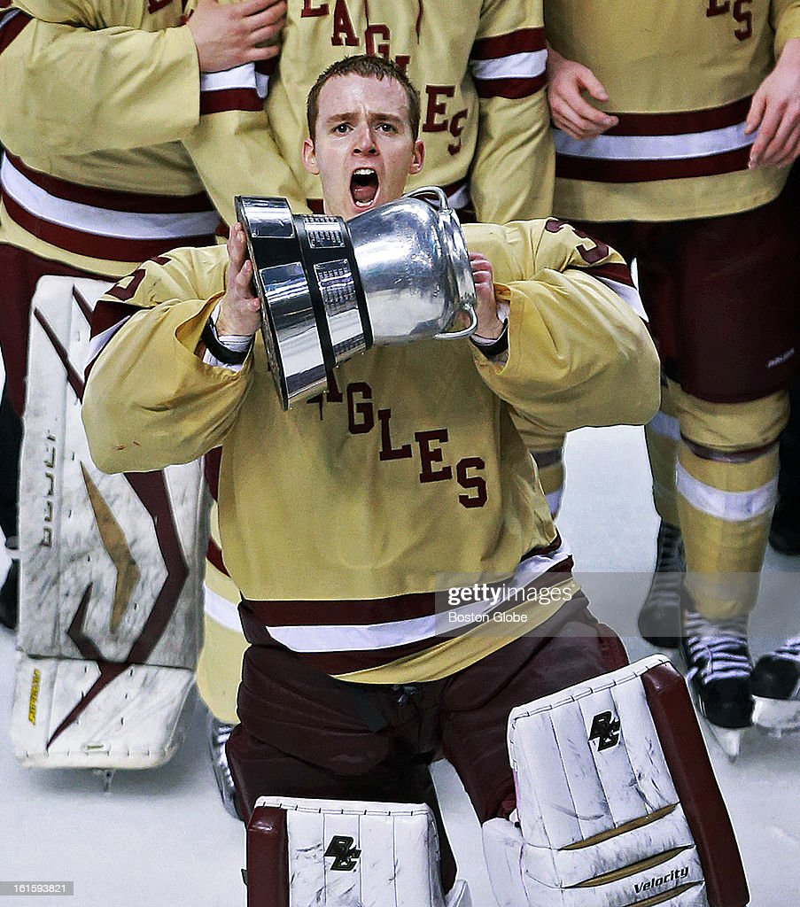 BC goalie Parker Milner takes his turn with the Beanpot. Boston College and Northeastern University met in the championship game of the Beanpot Tournament at the TD Garden.