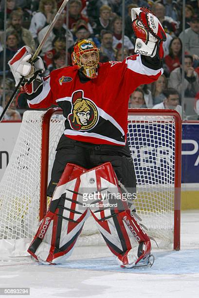 Goalie Patrick Lalime of the Ottawa Senators celebrates during game six of the Eastern Conference quarterfinals against the Toronto Maple Leafs at...