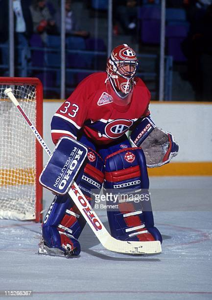 Goalie Patrick Roy of the Montreal Canadiens defends the net during an NHL game circa 1990