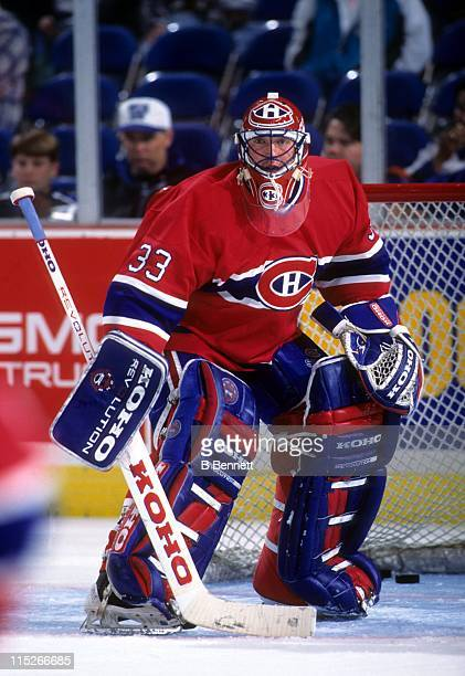 Goalie Patrick Roy of the Montreal Canadiens defends the net during an NHL game circa 1994