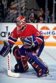 Goalie Patrick Roy of the Montreal Canadiens defends the net during an NHL game circa 1993