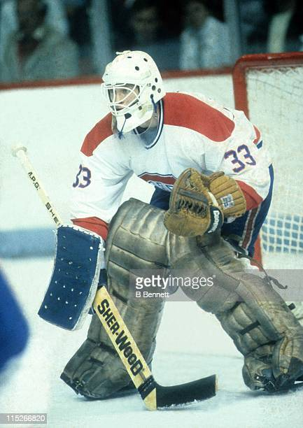 Goalie Patrick Roy of the Montreal Canadiens defends the net during an NHL game circa 1986 at the Montreal Forum in Montreal Quebec Canada