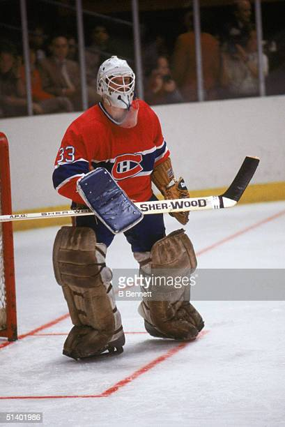 Goalie Patrick Roy of the Montreal Canadiens in net during a game in 1986