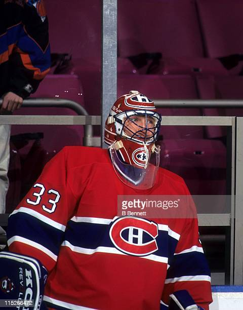 Goalie Patrick Roy of the Montreal Canadiens looks on during an NHL game circa 1992
