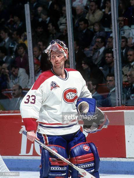 Goalie Patrick Roy of the Montreal Canadiens looks on during Game 1 of the 1993 Stanley Cup Finals against the Los Angeles Kings on June 1 1993 at...