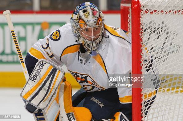 Goalie Pekka Rinne of the Nashville Predators defends the goal against the Colorado Avalanche at the Pepsi Center on January 10 2012 in Denver...