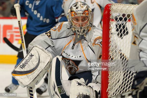 Goalie Pekka Rinne of the Nashville Predators defends the net against the Colorado Avalanche at the Pepsi Center on January 20 2011 in Denver...