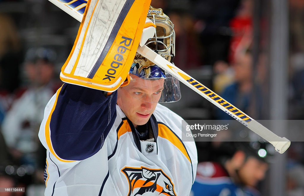 Goalie Pekka Rinne #35 of the Nashville Predators looks on during a break in the action against the Colorado Avalanche at the Pepsi Center on March 30, 2013 in Denver, Colorado.