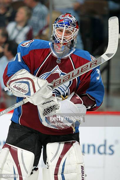Goalie Peter Budaj of the Colorado Avalanche looks on during a break in the action against the Phoenix Coyotes at the Pepsi Center on November 4 2009...