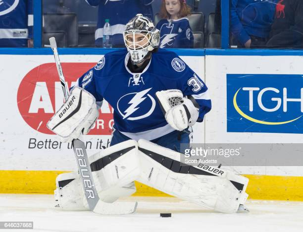 Goalie Peter Budaj of the Tampa Bay Lightning skates during the pregame warm ups after being traded against the Ottawa Senators at Amalie Arena on...