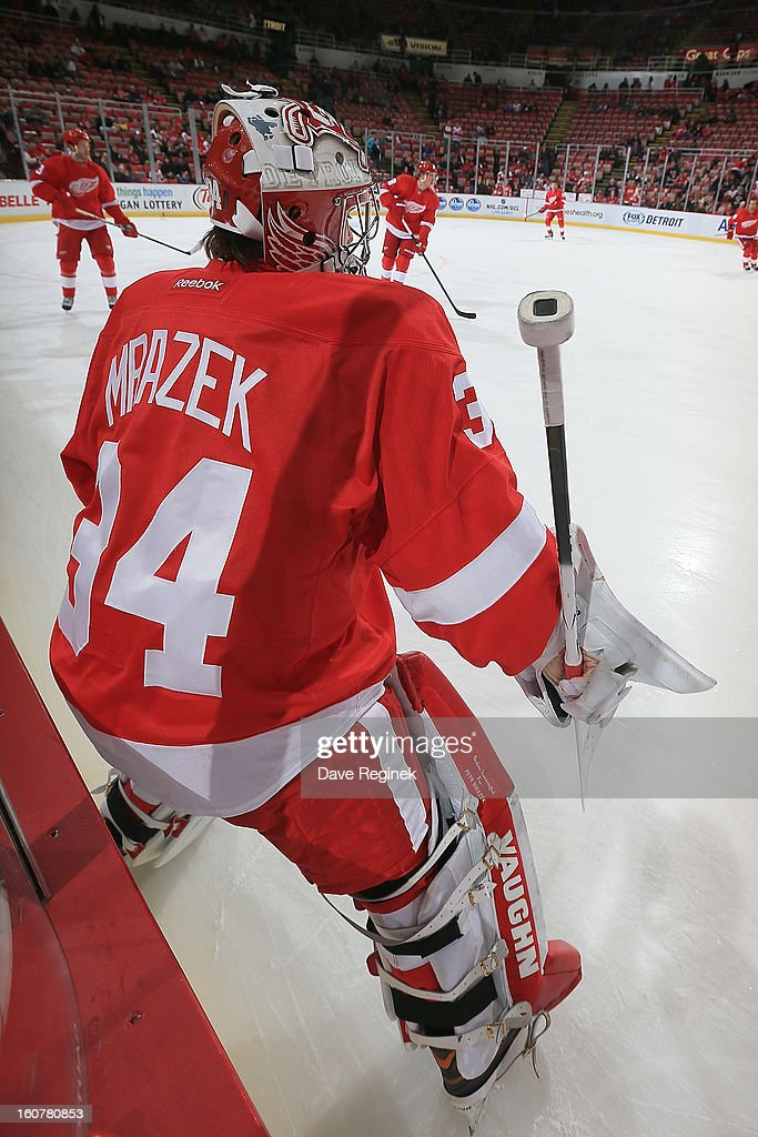 Goalie Petr Mrazek #34 of the Detroit Red Wings takes the ice for warm ups before his first NHL game against the Calgary Flames at Joe Louis Arena on February 5, 2013 in Detroit, Michigan.