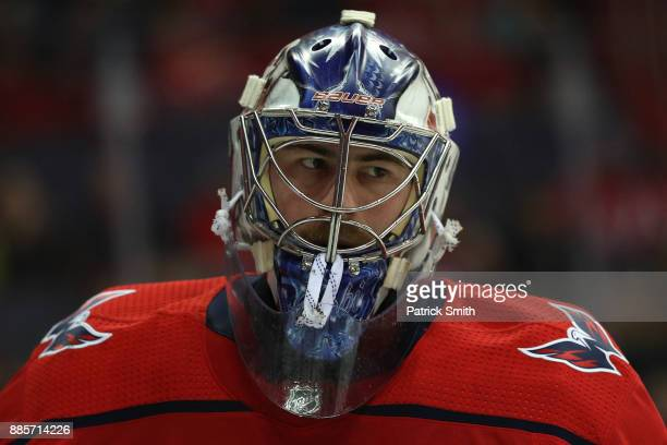 Goalie Philipp Grubauer of the Washington Capitals looks on against the San Jose Sharks during the first period at Capital One Arena on December 4...