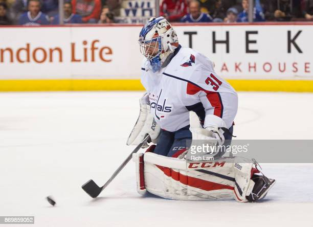 Goalie Philipp Grubauer of the Washington Capitals makes a save in NHL action against the Vancouver Canucks on October 2017 at Rogers Arena in...