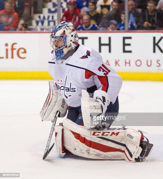 Goalie Philipp Grubauer of the Washington Capitals readies to make a save in NHL action against the Vancouver Canucks on October 2017 at Rogers Arena...