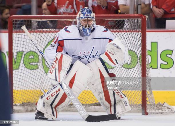 Goalie Philipp Grubauer of the Washington Capitals readies to make a save prior to NHL action against the Vancouver Canucks on October 2017 at Rogers...