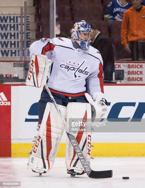 Goalie Philipp Grubauer of the Washington Capitals skates with the puck prior to NHL action against the Vancouver Canucks on October 2017 at Rogers...