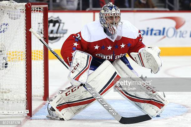 Goalie Philipp Grubauer of the Washington Capitals tends the net against the Montreal Canadiens in the third period at Verizon Center on February 24...