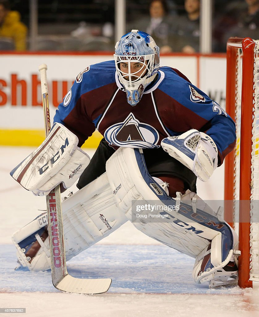 Goalie Reto Berra of the Colorado Avalanche defends the goal against the Florida Panthers at Pepsi Center on October 21 2014 in Denver Colorado The...