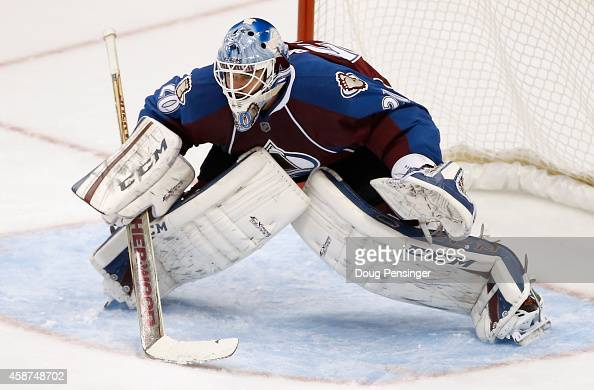 Goalie Reto Berra of the Colorado Avalanche defends the goal against the Toronto Maple Leafs at Pepsi Center on November 6 2014 in Denver Colorado...