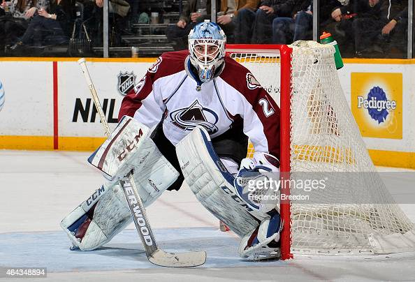 Goalie Reto Berra of the Colorado Avalanche plays against the Nashville Predators during the third period at Bridgestone Arena on February 24 2015 in...