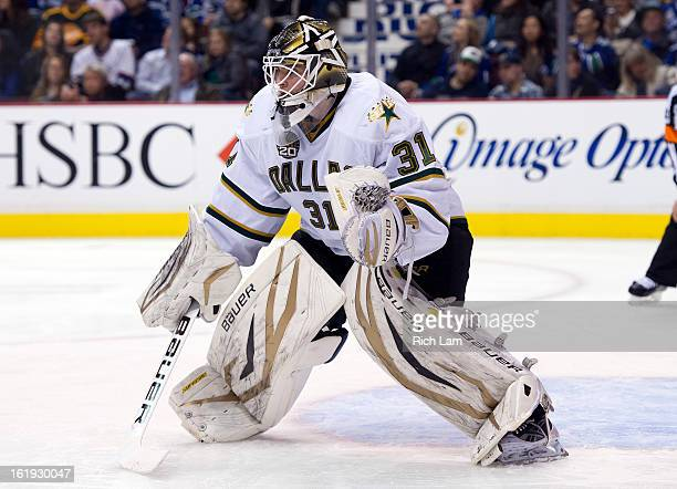 Goalie Richard Bachman of the Dallas Stars readies to make a save during NHL action against the Vancouver Canucks on February 15 2013 at Rogers Arena...